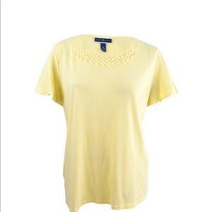 Karen Scott Yellow Basketweave-Trim T-Shirt  NWT